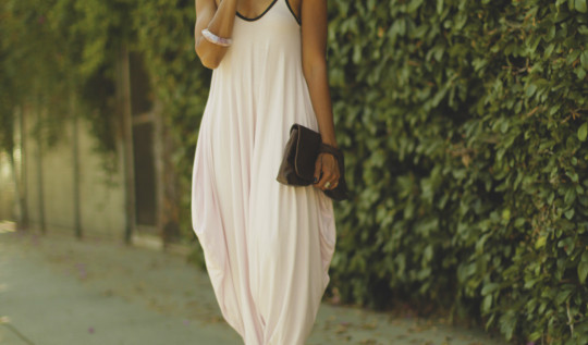 Baby-pink-nadda-dress-with-black-spaghetti-straps